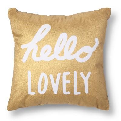 Xhilaration® Hello Lovely Decorative Pillow - Gold/White
