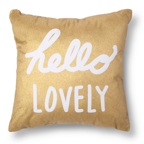 Hello Lovely Decorative Pillow Gold White Xh Target
