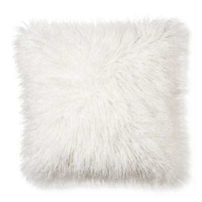 Mongolian Faux Fur Decorative Pillow - Cream (Square) - Xhilaration™