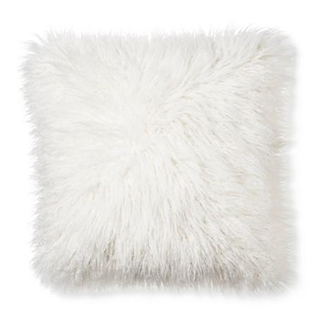 Mongolian Faux Fur Decorative Pillow - Cream (Square) - Xhilaration : Target