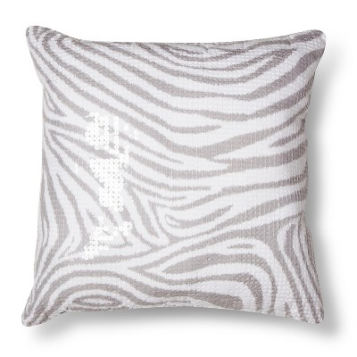 Zebra Sequin Decorative Pillow - Gray (Square) - Xhilaration™