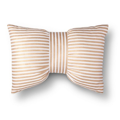Metallic Stripe Bow Decorative Pillow - Gold/White (Square) - Xhilaration™