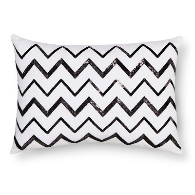 Chevron Sequin Decorative Pillow - White/Black (Square) - Xhilaration™