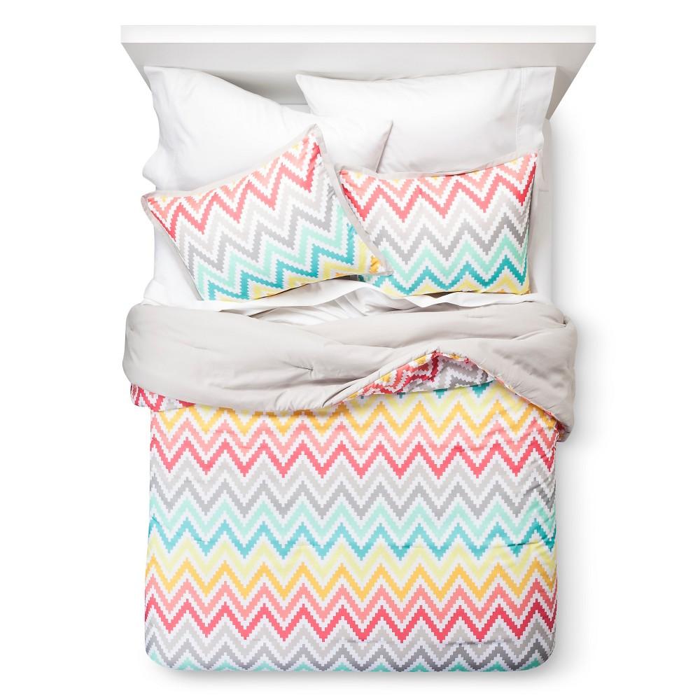 Xhilaration Chevron Print Comforter Set - Pink (Full/Queen)