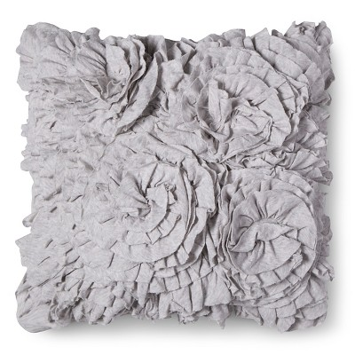 Jersey Ruffle Decorative Pillow - Gray (Square) - Xhilaration™