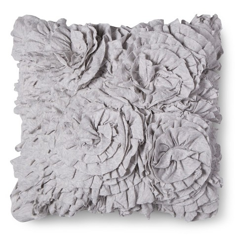Small Gray Decorative Pillow : Jersey Ruffle Decorative Pillow - Gray (Square) ... : Target