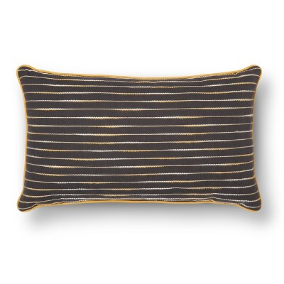 "Room Essentials™ Decorative Stitch Lumbar Pillow - Gray and Yellow (12x20"")"
