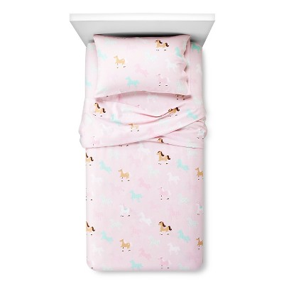 Circo™ Horse Flannel Sheet Set - Pink (Twin)