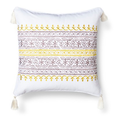 Mudhut™ Anila Embroidered Decorative Pillow with Tassels - Gold (Square)