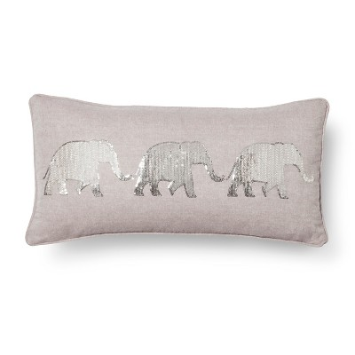 Mudhut™ Elephant Decorative Pillow - Gray (Square)