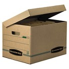 Bankers Box® Stor/File Storage Box, Letter/Legal, Attached Lid, Kraft/Green, 12/Carton