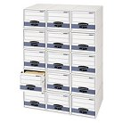 Bankers Box® Stor/Drawer Steel Plus Storage Box, Check Size, Wire, White/Blue, 12/Carton