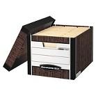 Bankers Box® R-Kive Max Storage Box, Letter/Legal, Locking Lid, Woodgrain, 12/Carton
