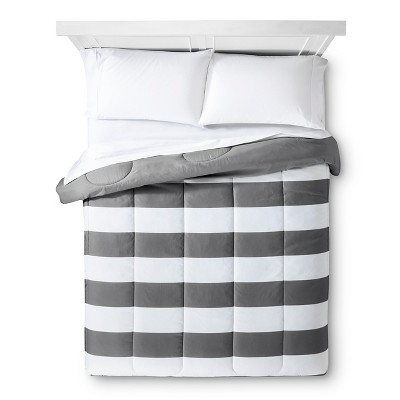 Rugby Stripe Comforter (King) Gray - Room Essentials™