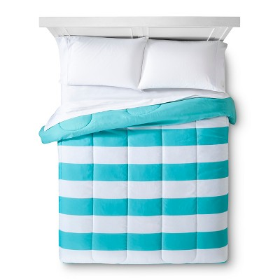 Rugby Stripe Comforter (Full/Queen) Turquoise - Room Essentials™