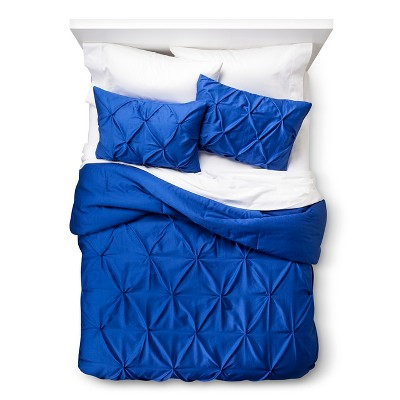 Pinched Pleat Comforter Set (King) Blue 3pc - Threshold™