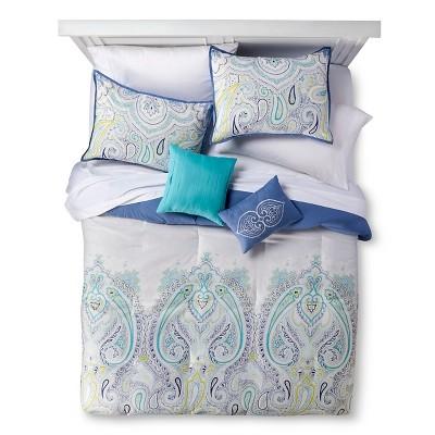 5 Piece Queen Comforter Set Blue Paisley Esha