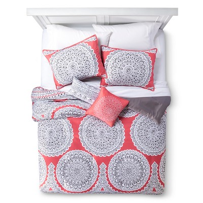 5 Piece Queen Comforter Set Coral Medallion Gemma