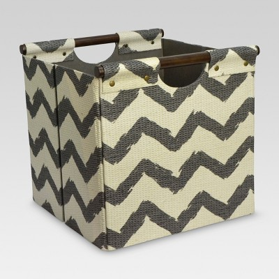 "Pandan Woven Cube Storage Bin 13"" - Gray Chevron - Threshold™"