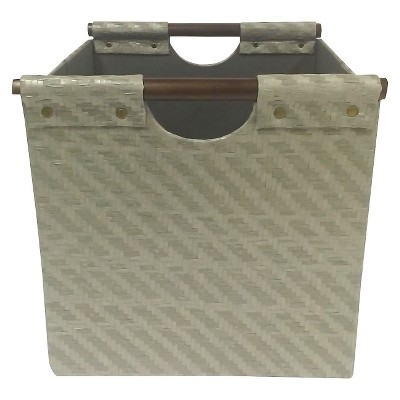 "Pandan Woven Cube Storage Bin 13"" - Gray - Threshold™"