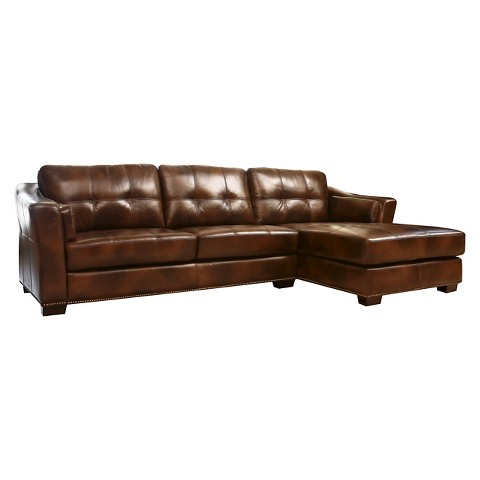 abbyson living ariel leather sectional sofa brown product details