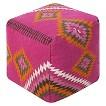 """Kilim Pouf - Neon Pink (18""""x18""""x18"""")"""