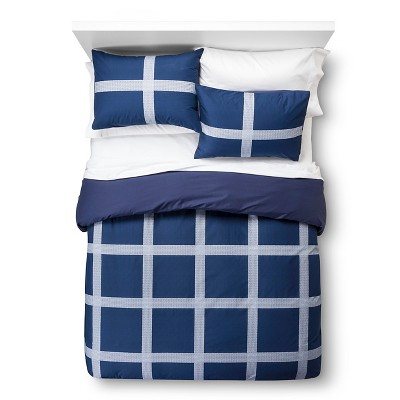 Room Essentials™ Linework Plaid Duvet Cover Set - Blue (Full/Queen)
