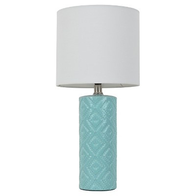 Room Essentials™ Textured Table Lamp Caribbean Aqua (Includes CFL Bulb)