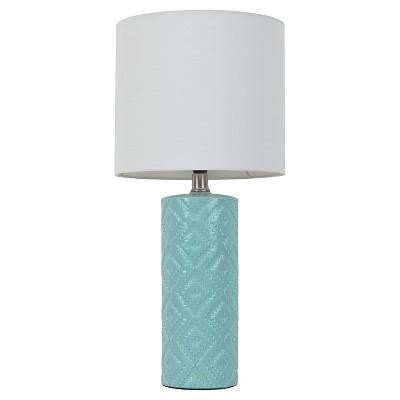 Room Essentials™ Textured Table Lamp Caribbean Aqua (Includes CFL Bulb)