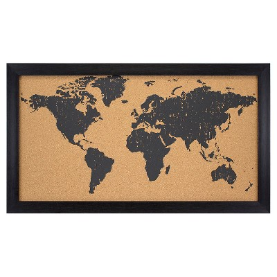 World Map Cork Board Black/Brown 28x16
