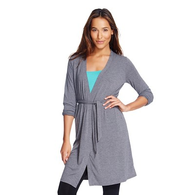 Women's Sleep Fluid Knit Wrap Robe Shaded Blue Gray - Gilligan & O'Malley™