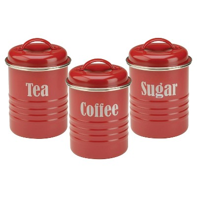 Typhoon Vintage Summer House 3 Piece Tea/Coffee/Sugar Set - Red