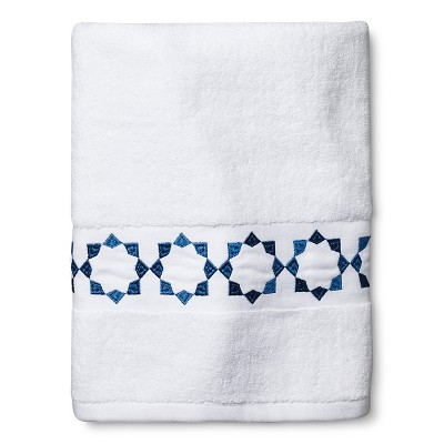 Sabrina Soto Havana Bath Towel - White/Blue