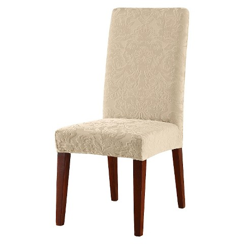 jacquard damask short dining room chair cover product details page