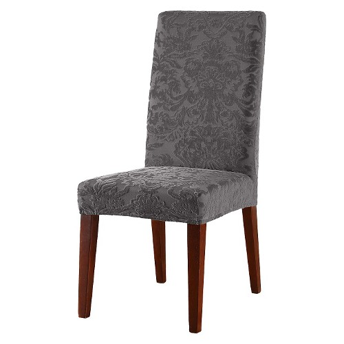 Sure Fit Stretch Jacquard Damask Dining Room Chair Slipcover Espresso