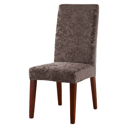 about sure fit stretch jacquard damask short dining room chair cover