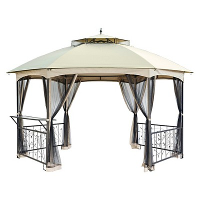 "Bloomfield 151"" x 175"" Hexagonal Outdoor Gazebo"