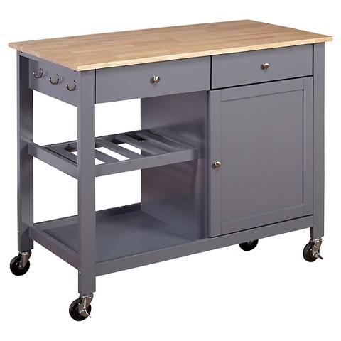 Columbus Kitchen Cart Wood Top Gray Product Details