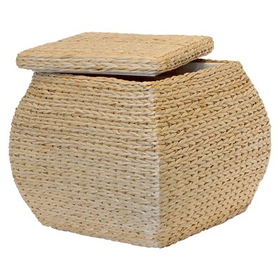 Square Havana Weave Storage Ottoman Natural - Baum Bros.