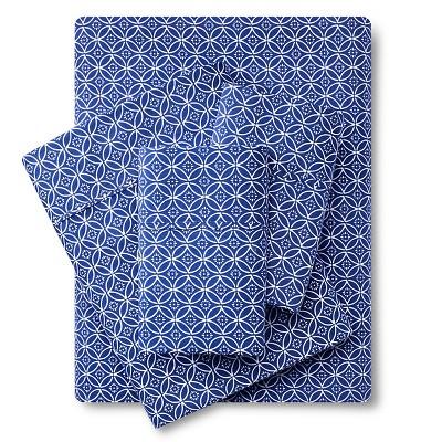 300 Thread Count Organic Sheet Set - Blue Geo (Full) Threshold™