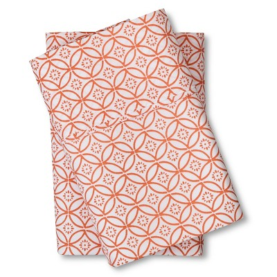 Threshold™ 300 Thread Count Organic Pillowcase - Orange Geo (King)