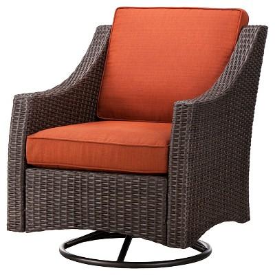 Belvedere Wicker Patio Swivel Club Chair - Orange - Threshold™