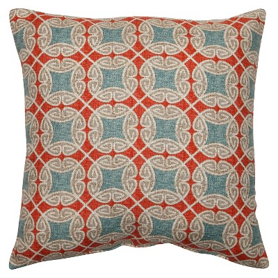 "Pillow Perfect Ferrow Throw Pillow - Red (16.5""x16.5"")"