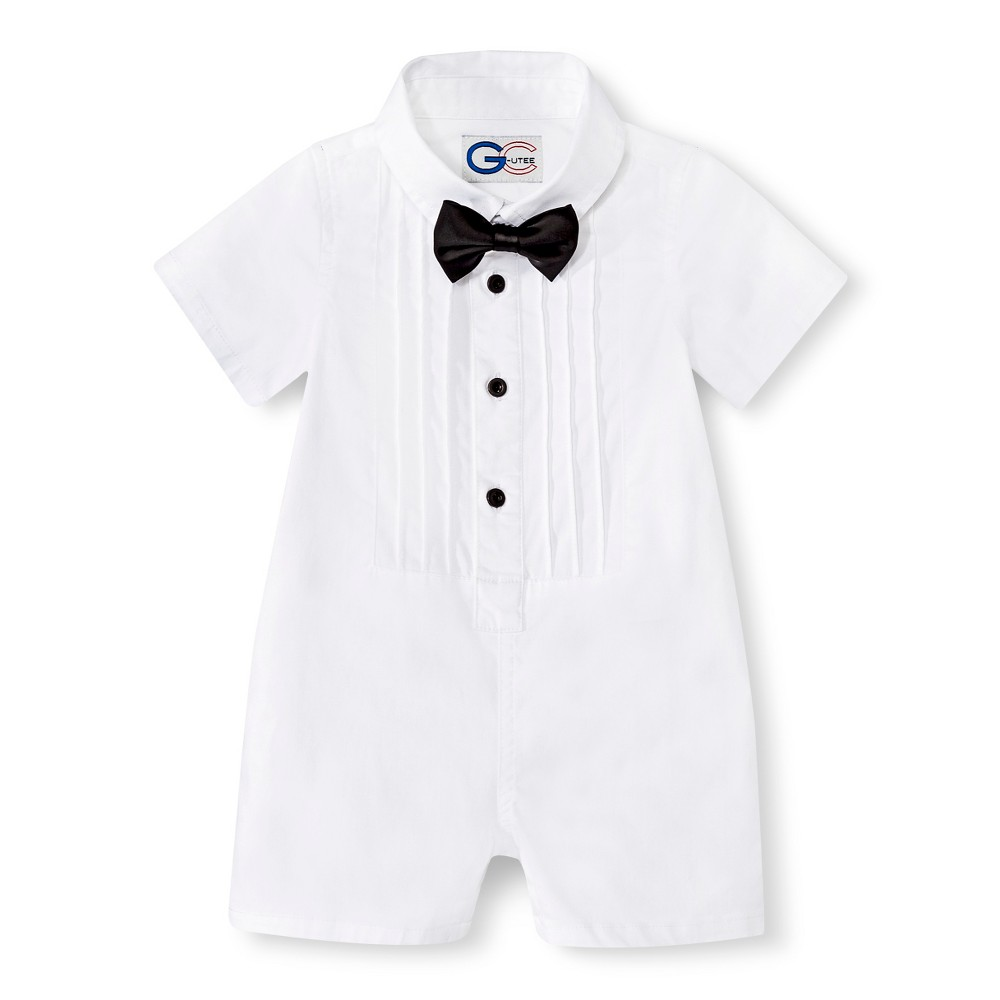 ebd7d14095b6 UPC 849115054955 - G-Cutee Newborn Boys  Short-Sleeve Tuxedo Romper ...