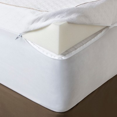 "Fieldcrest® 4"" Ultimate Comfort Memory Foam Mattress Topper - White (Queen)"