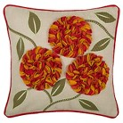 "Rizzy Home Lare Appliqué and Embroidered Leaves Decorative Throw Pillow - Orange/Natural (18""x18"")"