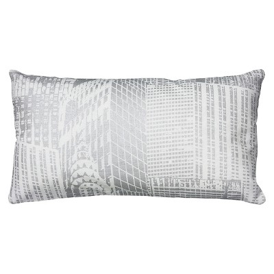 "Metallic Printed Pattern Throw Pillow White & Silver (11""x21"") - Rizzy Home"
