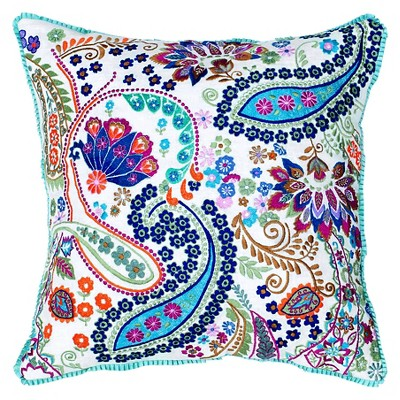 """Rizzy Home Embroidered Paisley and Floral Throw Pillow - 18""""x18"""" - Blue/White"""