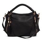 Women's Solid Satchel Handbag with Zipper Pockets