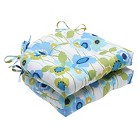 """Pillow Perfect Pic-A-Poppy Reversible Chair Pad - Blue (16""""X15.5""""X4"""")"""